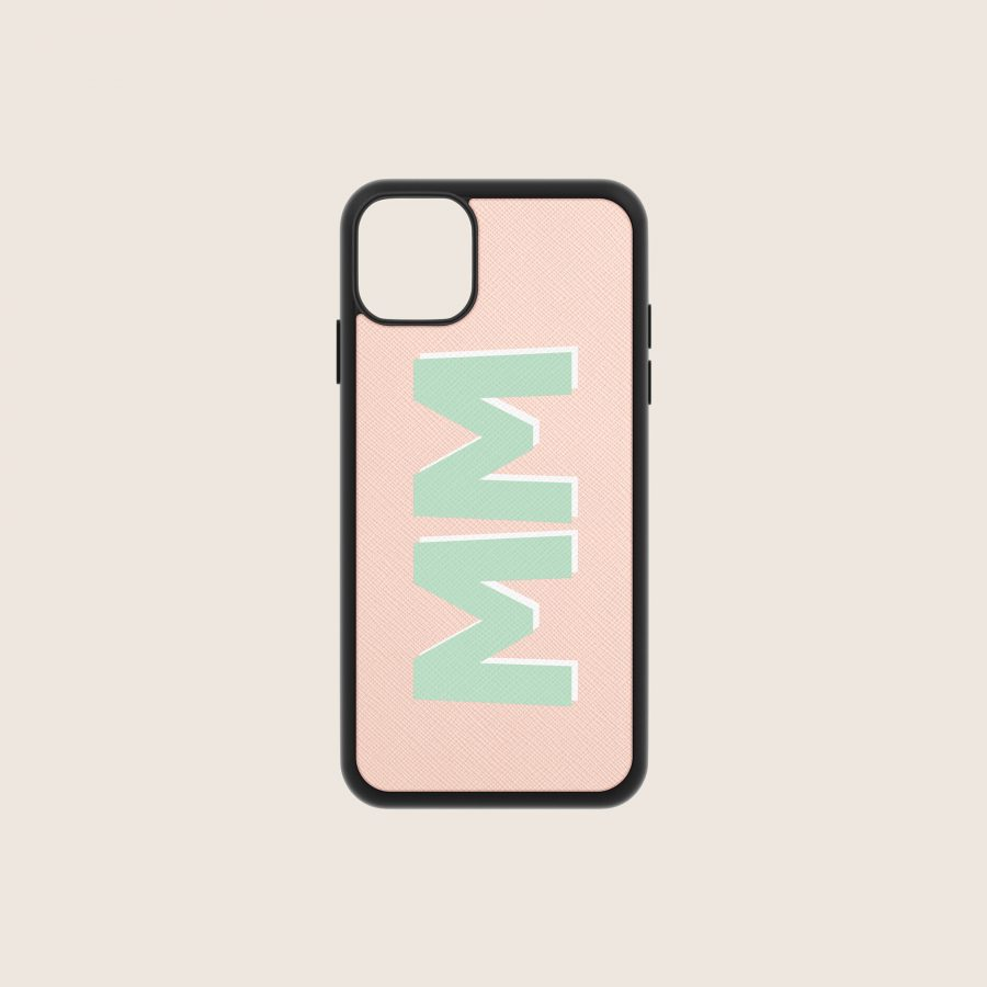 SAFFIANO PINK NUDE INITIALS (iPhone PRO MAX 11)