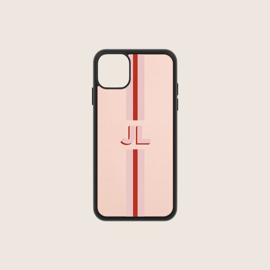 SAFFIANO PINK NUDE STRIPES 2 (iPhone PRO MAX 11)
