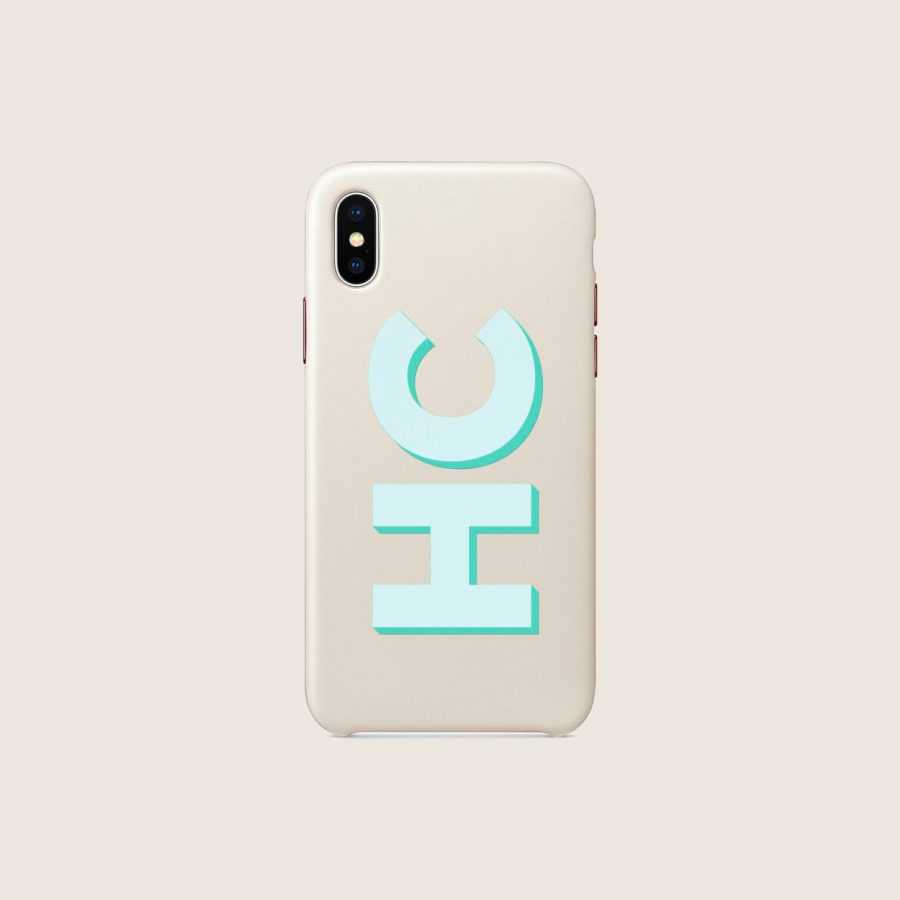 LEATHER WHITE MINT INITIALS (iPhone PRO MAX 11)