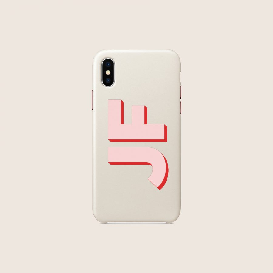 LEATHER WHITE PINK INITIALS (iPhone 12 Mini)