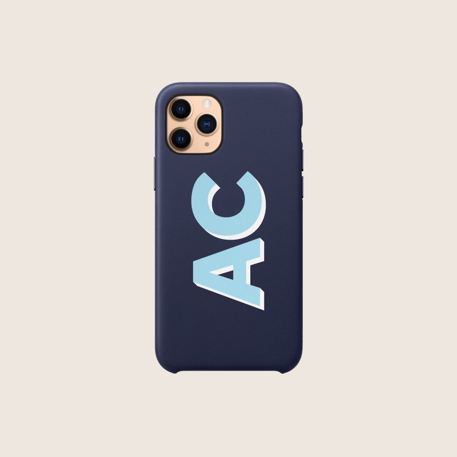 LEATHER NAVY BLUE INITIALS (iPhone 12 Mini)