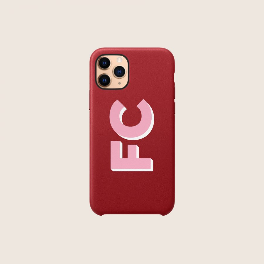 LEATHER RED PINK INITIALS (iPhone PRO MAX 11)