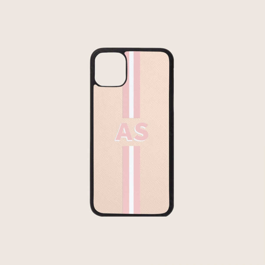 SAFFIANO PINK NUDE STRIPES 1 (iPhone PRO MAX 11)