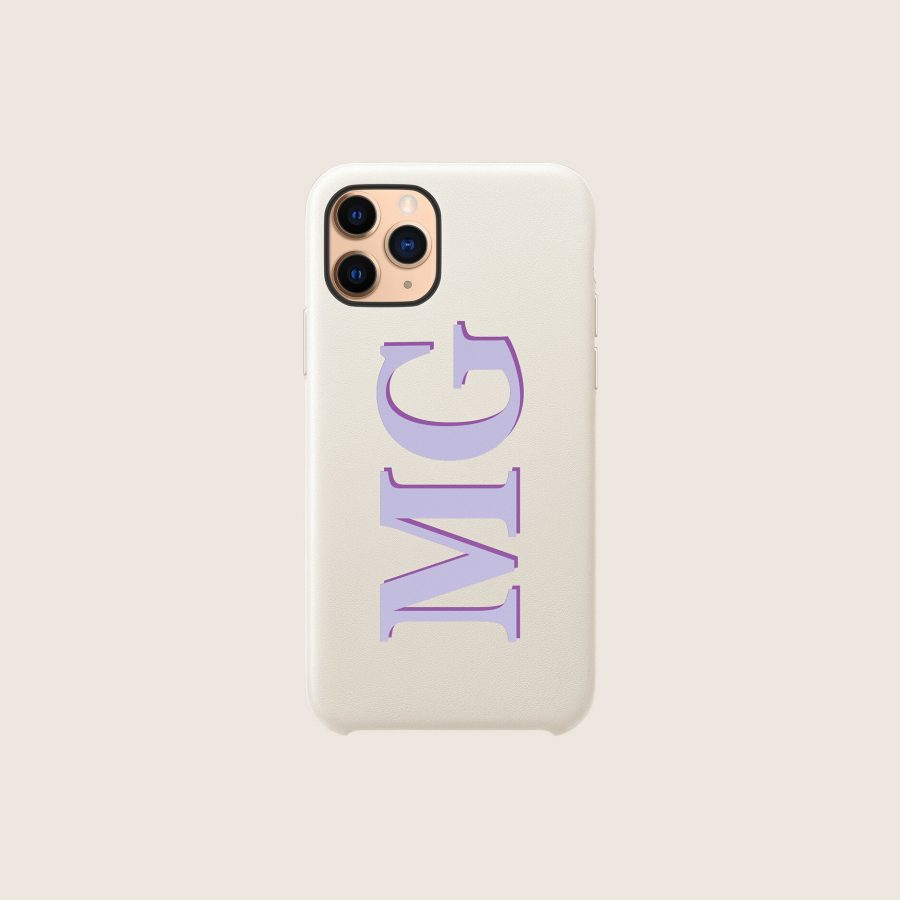 LEATHER WHITE LILAC INITIALS (iPhone PRO MAX 11)