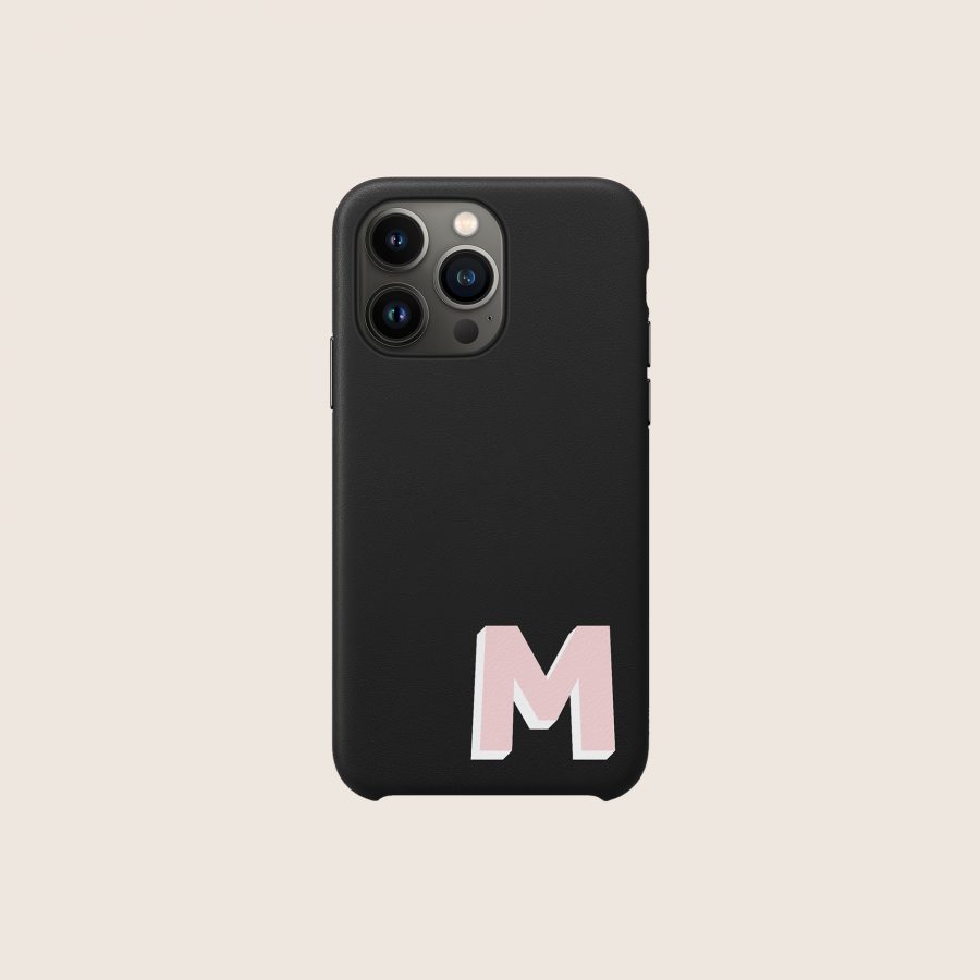 LEATHER BLACK & PINK INITIAL (iPhone 13 Pro)